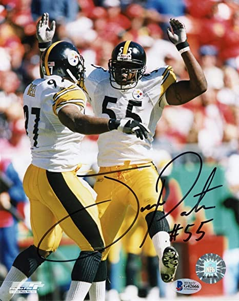 a93dd8bea57 Joey Porter Autographed Pittsburgh Steelers 8x10 Photo (White Jersey ...