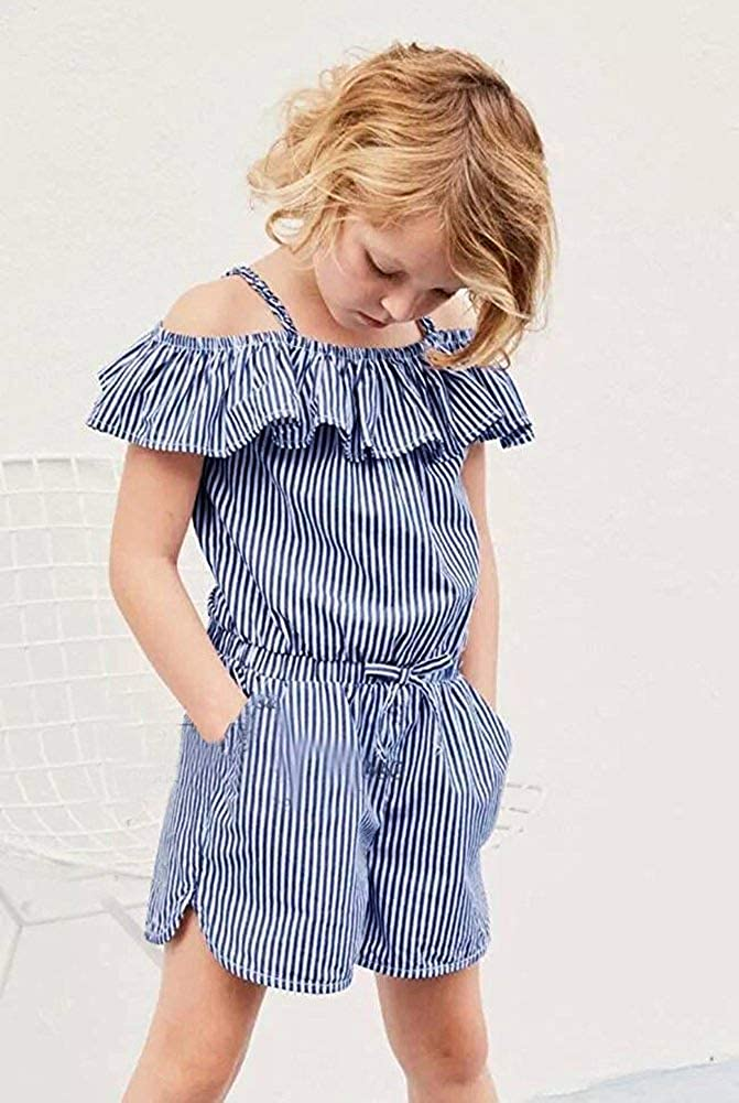Pybcvrrd Toddler Baby Girl Ruffle Collar Off The Shoulder Spaghetti Strap Striped Romper with Pocket Summer Outfits