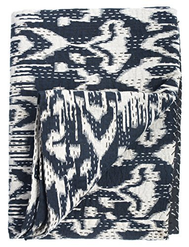 "Ikat Quilt - Navy - 2 Layer 100% Organic Cotton - Queen (90""x108"")"