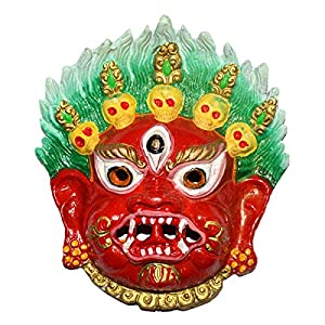 Reiki Crystal Products Lucky Spiritual Mahakala Wall Sculpture - Hindu God Shiva Wall Decor Hanging Mask, for Good Luck & Brings Prosperity, Success
