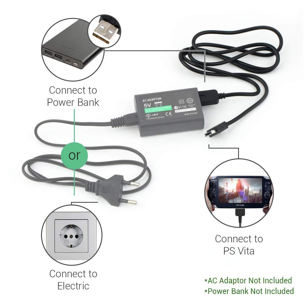 Cargador de EXINOZ® para Playstation PS Vita de1.2m | Transferencia de datos USB y cargador de energía sincronizada | Cable de alta calidad con ...