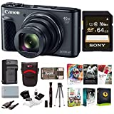 Canon PowerShot SX730 Digital Camera (Black) + 64GB Card + Battery and Charger + Paintshop Software + Bundle
