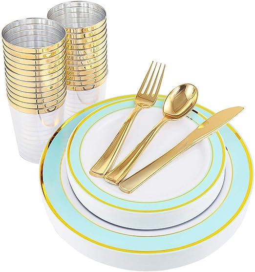 25 Dessert Spoons 50 Forks 25 Spoons 225 Piece Disposable 25 Dinner Plates 25 Guest Disposable Rose Gold Dinnerware Set 25 Dessert Plates /& 25 Cups Bonus 50 Guest Towels 25 Knives