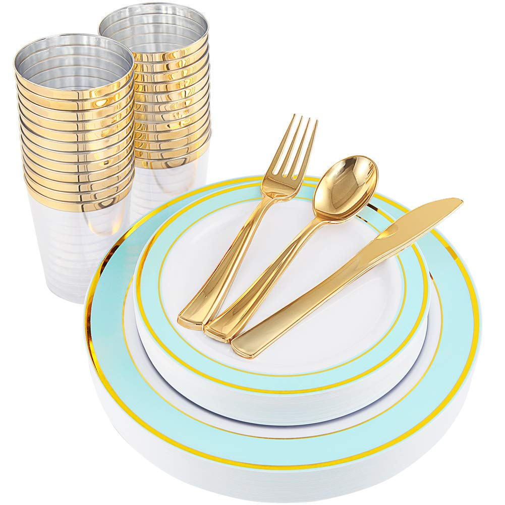 25 Guest Gold Plastic Plates with Gold Silverware,Disposable Cups-Include 25 Dinner Plates, 25 Dessert Plates, 25 Forks, 25 Knives, 25 Spoons & 10 oz Plastic Cups (Mint) NERVURE