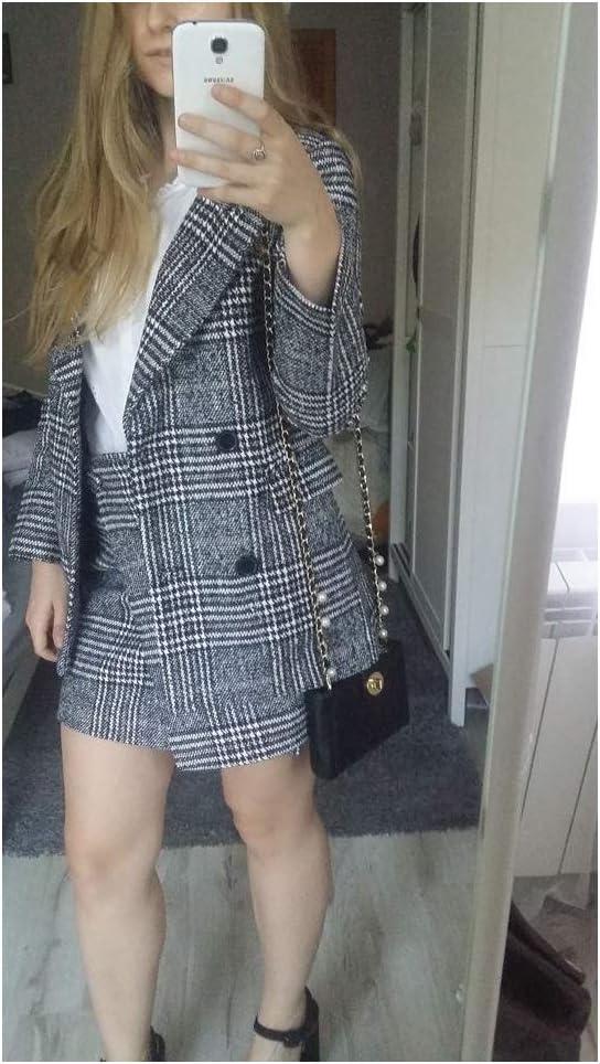 LXYIUN Veste Femme,Mode Plaid Costume Costume dautomne Jupe,S