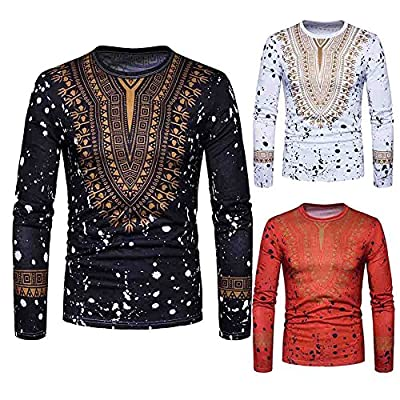 HGWXX7 T-Shirt Men Casual African Print Long Sleeved O-Neck Pullove Blouse Top