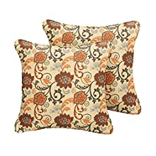 Mozaic AMPS106893 Indoor Outdoor Sunbrella Square Pillow with Corded Edges, Set of 2 16 x 16 Brown Floral
