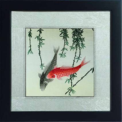 fc46f7b16d778 100% Handmade Framed Chinese Silk Embroidery Wall Hanging Two Fish Swimming  Painting, Fine Silk Thread on Satin by Embroidery Artist, Cool Collectible  ...