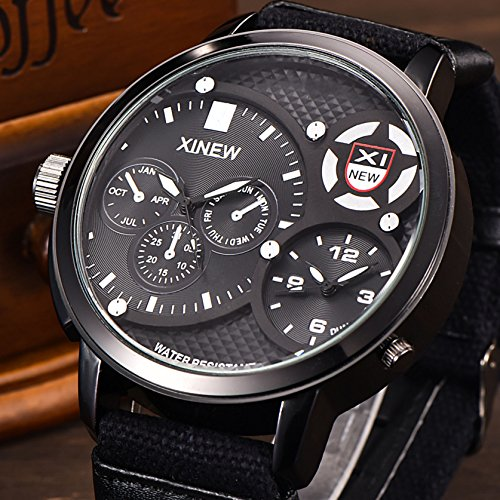 KINGMAN.INC Mens Sport watch Canvas Band Quartz watch Big Face Waterproof Military Wrist Digital Watches