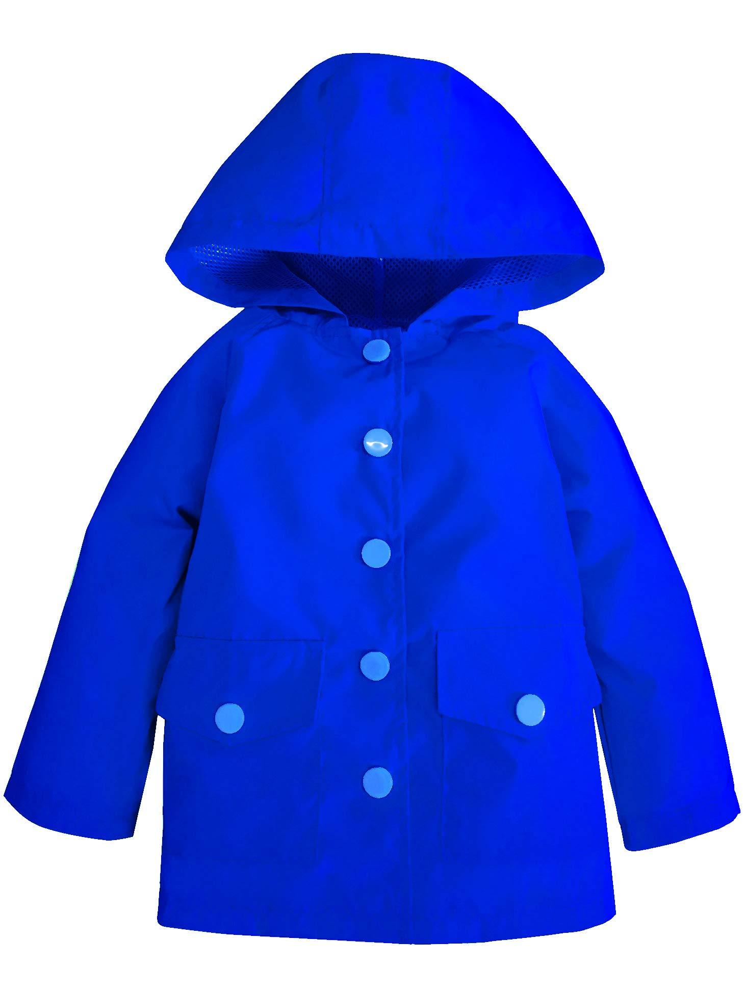 YNIQ Little Kids Waterproof Lightwight Coat Jacket Raincoat with Hooded for Big Boys Blue