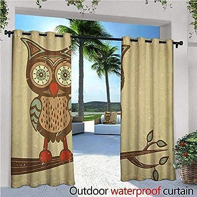 familytaste Owl Fashions Drape Cute Owl Sitting on Branch Eyesight Animal Humor Pastel Retro Modern Graphic Outdoor Curtain Waterproof Rustproof Grommet Drape Brown Cream Red Teal