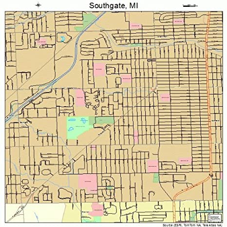 Amazon Com Large Street Road Map Of Southgate Michigan Mi
