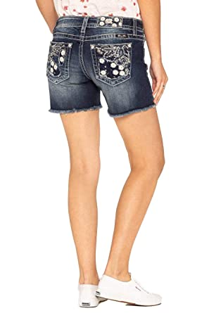 a702f4f80d Amazon.com: Miss Me Women's Floral Pocket Denim Shorts - M3337d ...