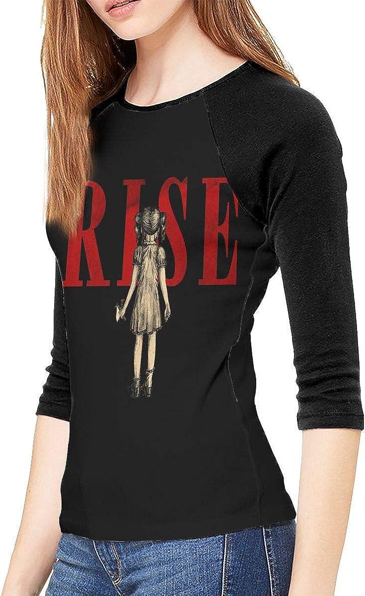 Skillet Rise T Shirts Women's 3/4 Sleeve Tops Classic Raglan Sleeve Tee