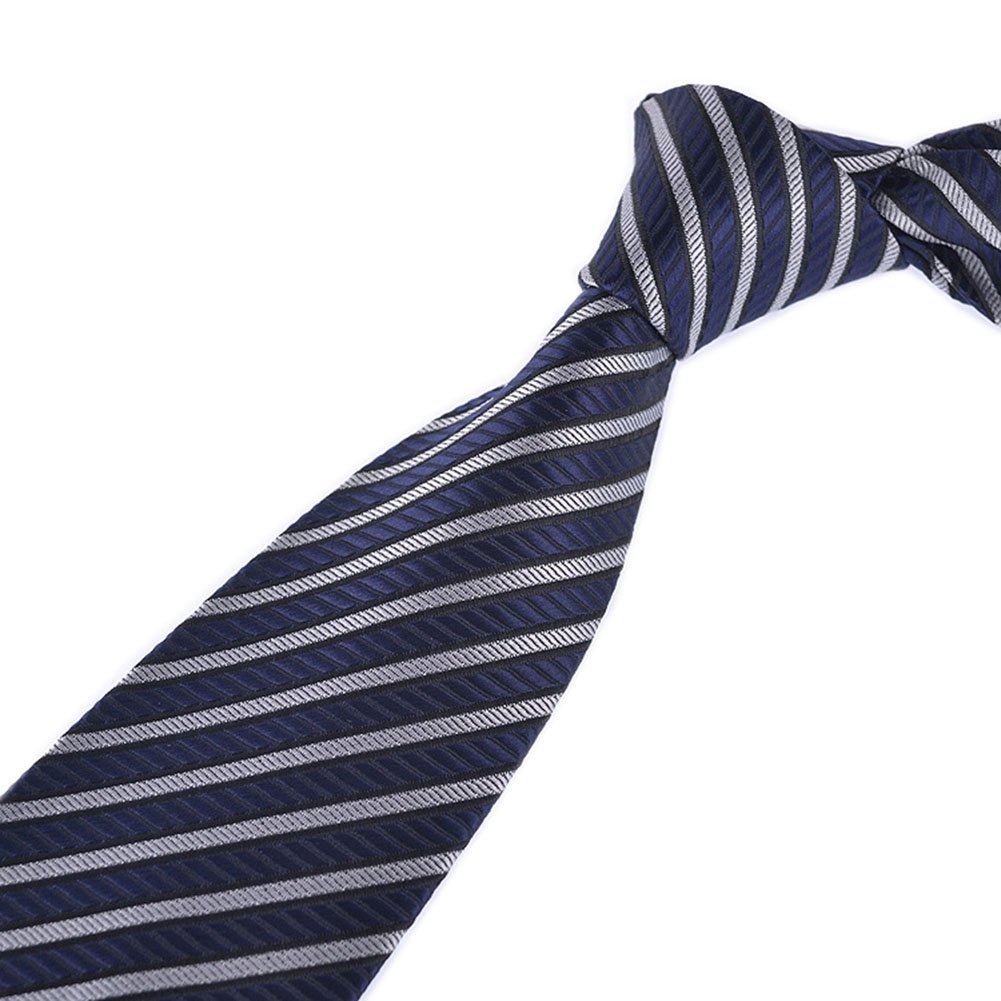 Men Repp Navy Blue Silver Ties Fine Striped Woven Working Neckties Holiday Gifts