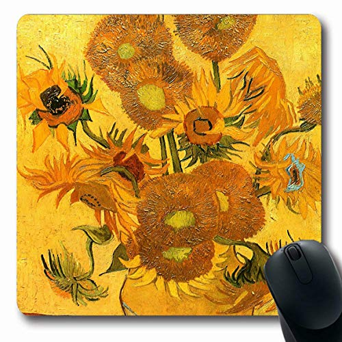 (Ahawoso Mousepads Vincent Van Gogh Vase with Sunflowers Oblong Shape 7.9 x 9.5 Inches Oblong Gaming Mouse Pad Non-Slip Rubber Mat)