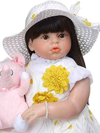 """Reborn Toddler Dolls Realistic Baby Girl Doll Blonde Hair Soft Silicone Kid 28/"""""""