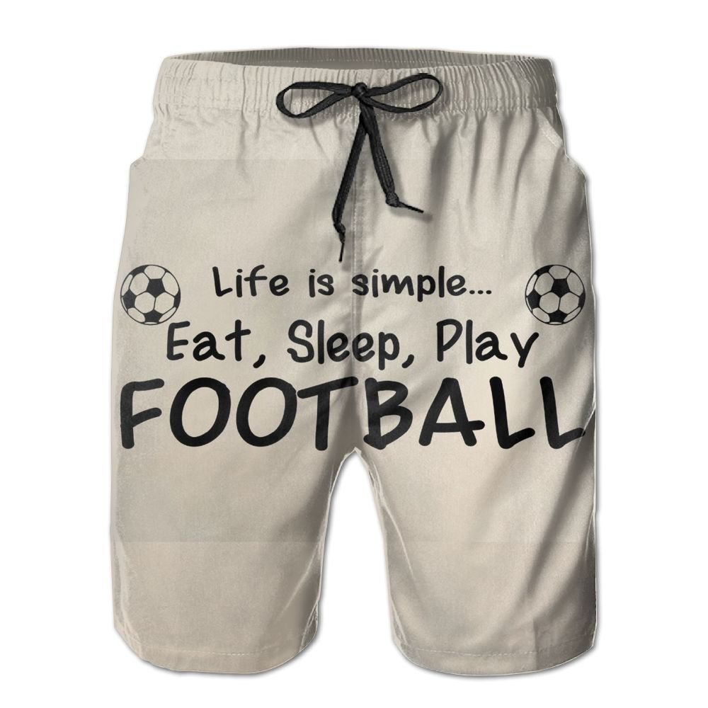 Love Football Mens Beach Board Shorts Quick Dry Summer Casual Swimming Soft Fabric with Pocket