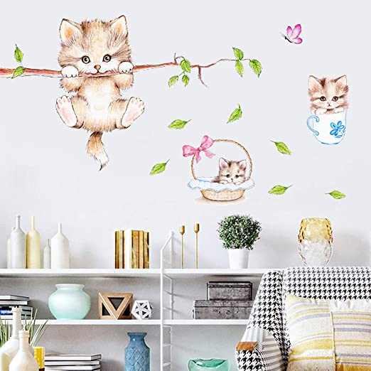 Amazon Com Cute Cartoon Cat On The Tree Branches Wall Decals Removable Kitty Wall Stickers Decor Girls Bedroom Decal Kids Nursery Sticker Bathroom Wall Art Decoration Kitty Decals Cats Wall Sticker Arts Crafts