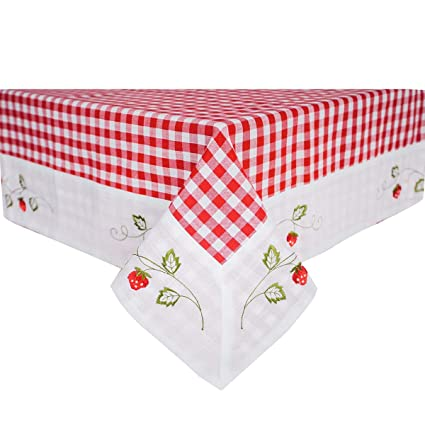Auwer Square Tablecloth 55u0026quot;x55u0026quot;, Red And White Checkered Cotton Linen  Table Cloth
