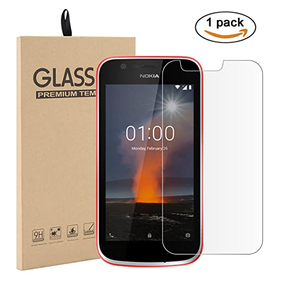 separation shoes ad813 c6211 Amazon.com: Nokia 1 Screen Protector Glass, Lifeepro Cover [Crystal ...