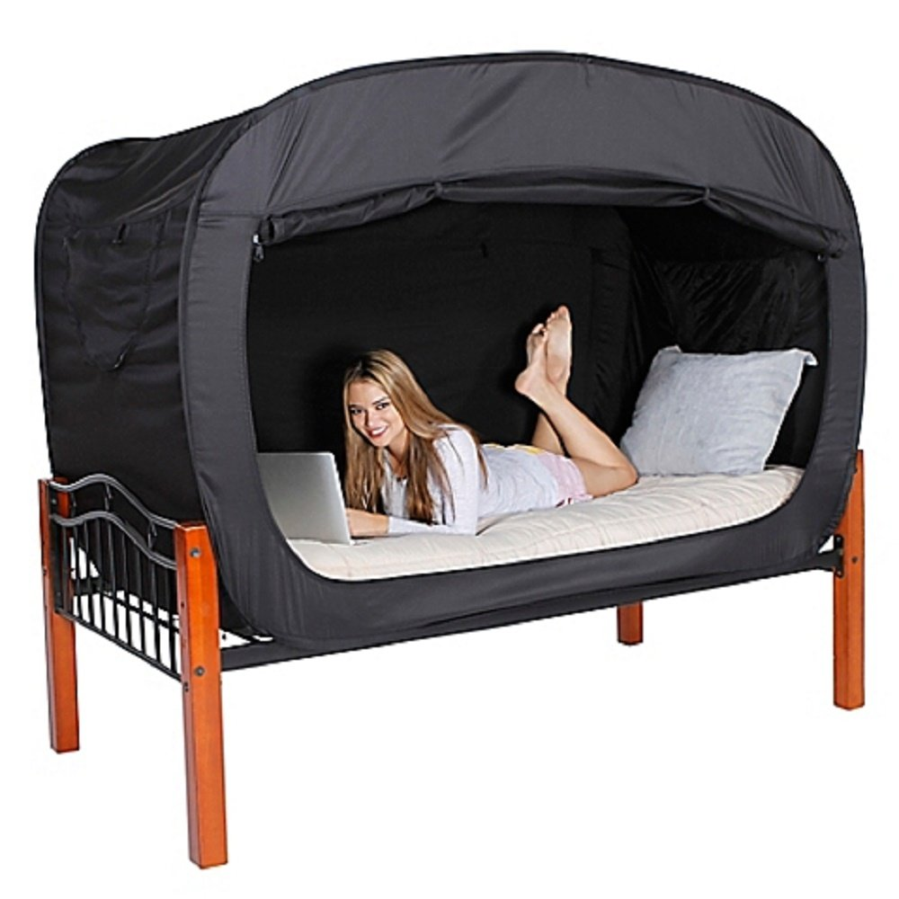 Privacy Pop Full 55'' W x 78'' L x 53'' H Bed Tent in Black Provides a Convenient and Easy way to Enjoy privacy in shared Bedrooms, Open Sleeping Areas, Multi-Occupancy Dorm Rooms