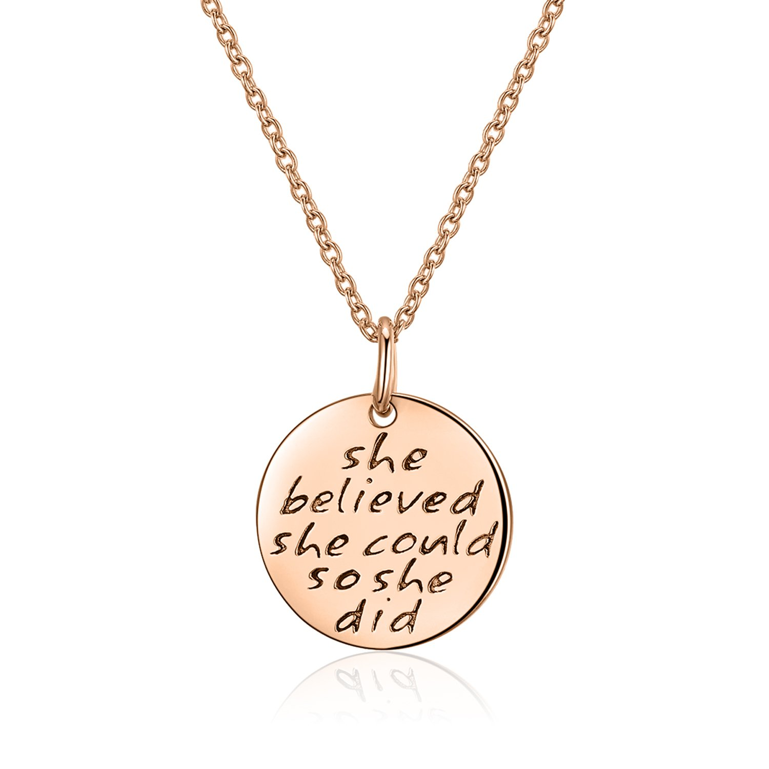 9bc7554b86f748 Annamate Women 925 Sterling Silver Disc Pendant Necklace Engraved She  Believed she Could so she did Personalized Inspiration Quote Jewelry:  Amazon.co.uk: ...
