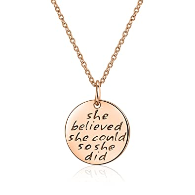 Annamate women 925 sterling silver disc pendant necklace engraved annamate women 925 sterling silver disc pendant necklace engraved quotshe believed she could so mozeypictures Image collections