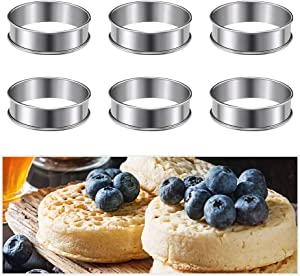 Pengxiaomei 6pcs English Muffins Rings,3.15inch Stainless Steel Crumpet Rings Molds,Double Rolled Tart Rings Mousse Ring Cake Mold for Home Food Baking Tools