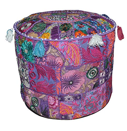 Indian Pouf Footstool Ethnic Embroidered Pouf Cover, Indian Cotton Round Pouffe Ottoman Pouf Cover Pillow Ethnic Decor Art - Cover Only (14x22inch) (Purple, 14x22 Inch) ()