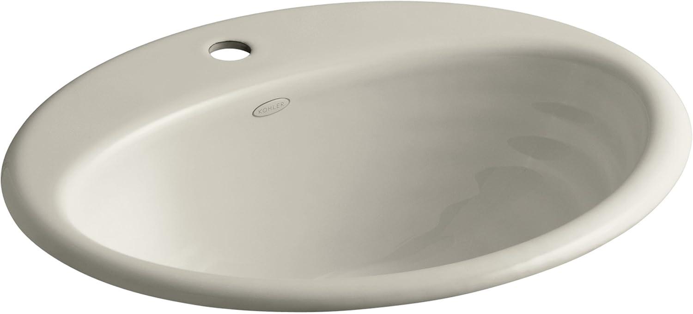 KOHLER K-2906-1-G9 Ellington Self-Rimming Bathroom Sink with Single-Hole Faucet Drilling, Sandbar