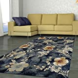 Superior Quality Soft, Plush and Durable 10mm Moisture and Mildew Resistant Fiore Collection Area Rug, 8' x 10' Navy Blue