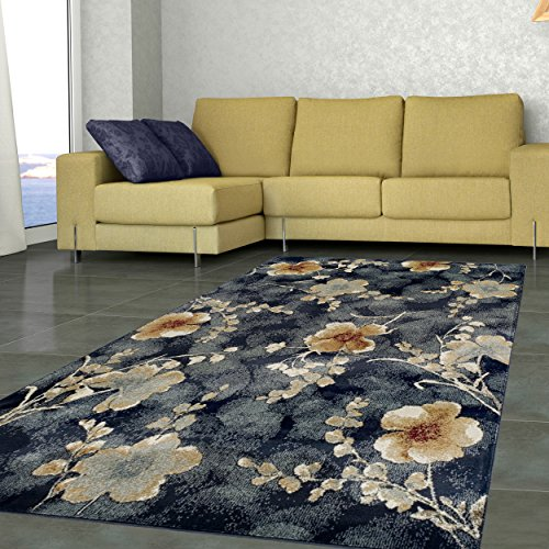 Superior Quality Soft, Plush and Durable 10mm Moisture and Mildew Resistant Fiore Collection Area Rug, 8′ x 10′ Navy Blue Review