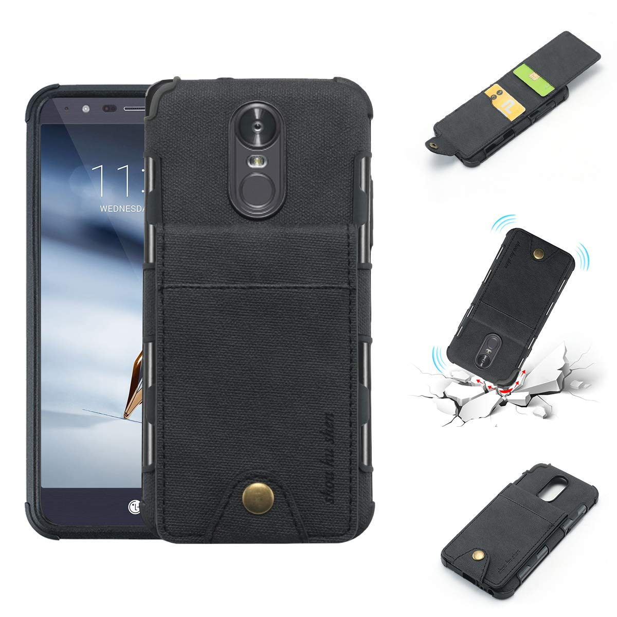 LG Stylo 3 Case, LG Stylo 3 Plus Wallet Phone Case, 5 ID Credit Card Slot, Button Flip-Out Leather Drop Protection Case - Black