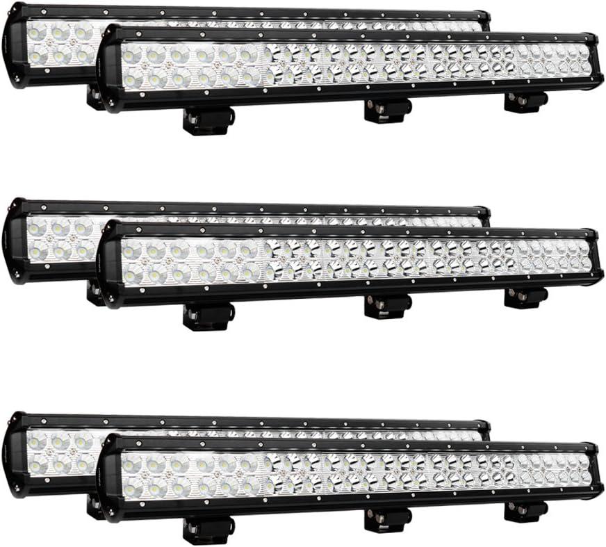 "Nilight 6PCS 25"" 162W Led Light Bar Flood Spot Combo Waterproof Driving Lights Off Road Lights for SUV UTE Truck ATV UTV, 2 Years Warranty"