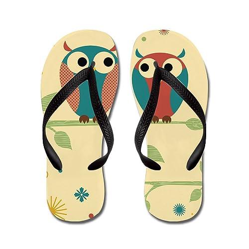 b5b152347ac2 Lplpol Cute Owl Sandals Flip Flops for Adults L with Black Flip Flops Belt