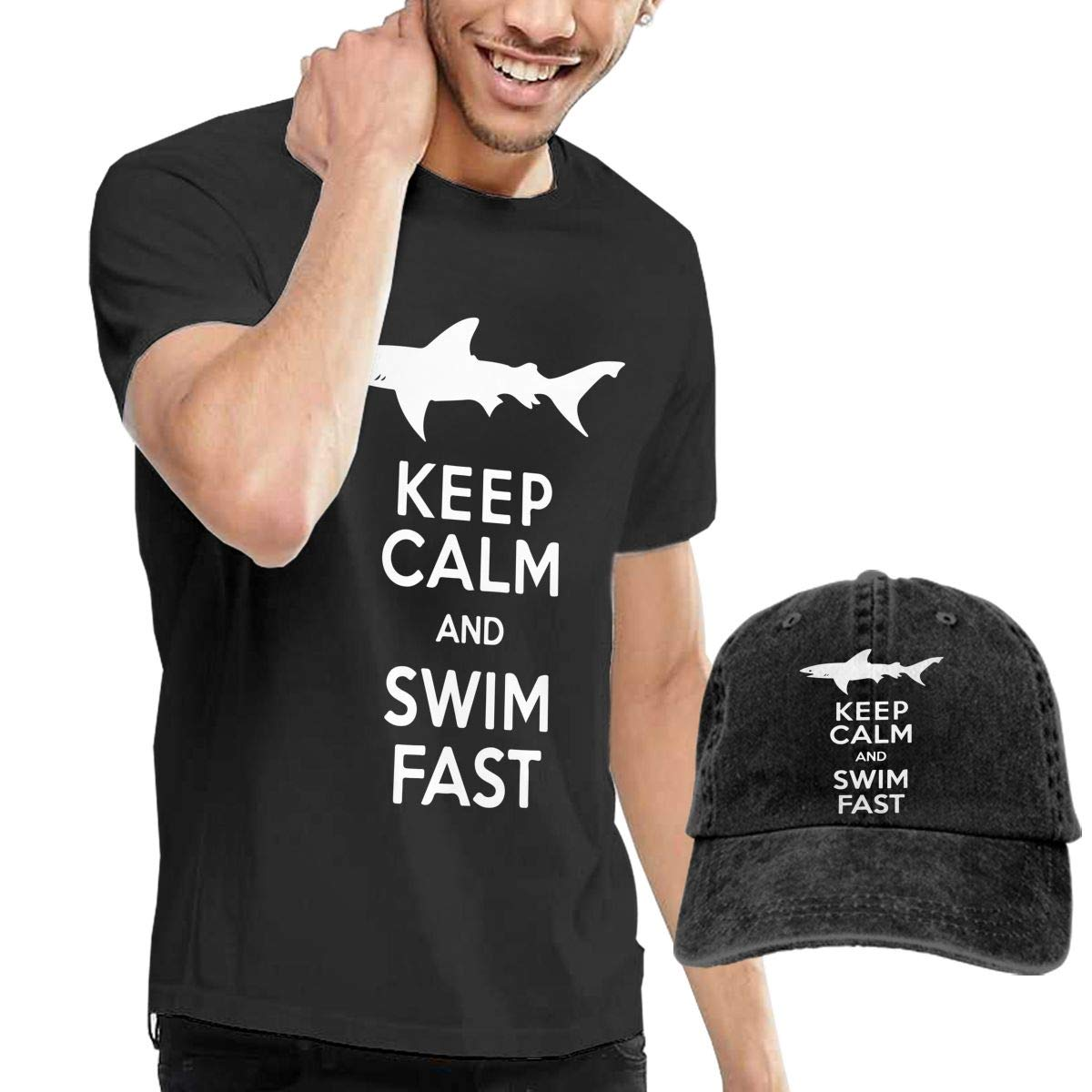 QqZXD Keep Calm and Swim Fast Fashion Mens T-Shirt and Hats Youth /& Adult T-Shirts
