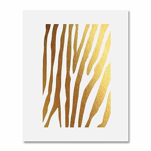 5bfcc1c6adfb8 Amazon.com: Zebra Print Gold Foil Decor Animal Print Metallic Wall Art  Poster 8 inches x 10 inches: Handmade