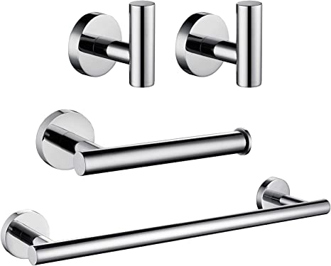 Amazon Com Ushower Polished Chrome Bathroom Hardware Set Include 16 Inch Towel Bar Durable Sus304 Stainless Steel Modern Style 4 Piece Home Kitchen