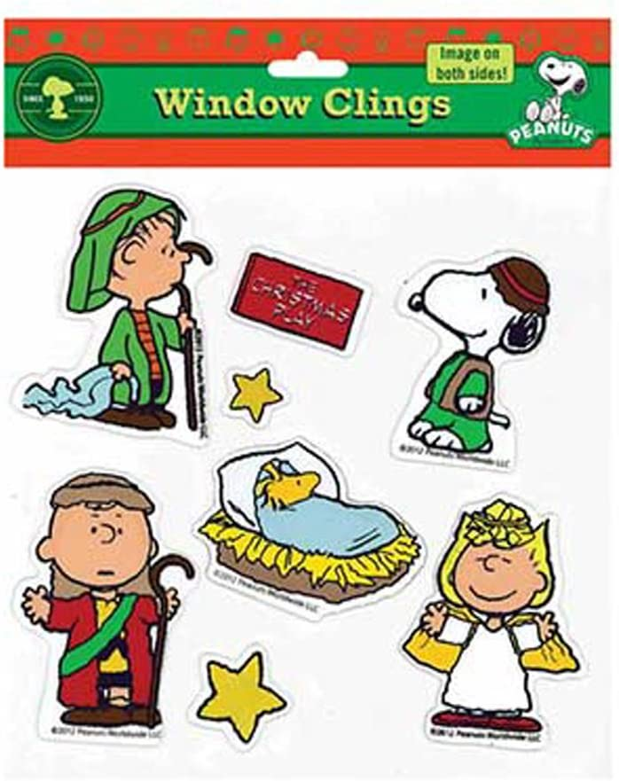 ProductWorks Peanuts Snoopy Nativity Christmas Play Jelz Window Clings Decorations