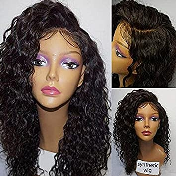 Meige wig Heat resistant synthetic lace front wig real glueless kinky curly texture black color for