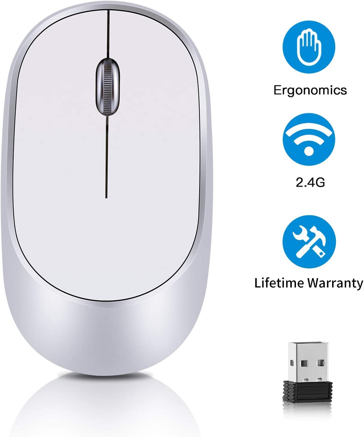 Computer Wireless Mouse, 2.4G Slim Portable Laptop Mice Optical Mouse with USB Nano Receiver DPI 1200- Fit Your Hand Nicely, for Laptop, MacBook, Desktop, PC, Notebook - Silver