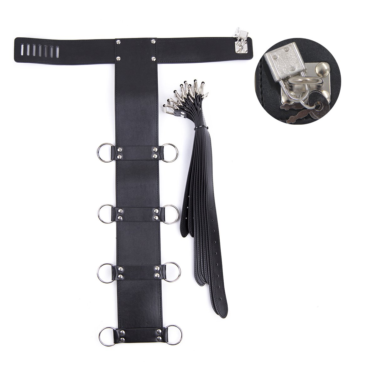 Lononvie Sex PU Bed Straps Bondage Restraints System,Neck Collar with Adjustable 4pcs Handcuffs Back,Couples BDSM Game Kit,Black by Lononvie (Image #2)