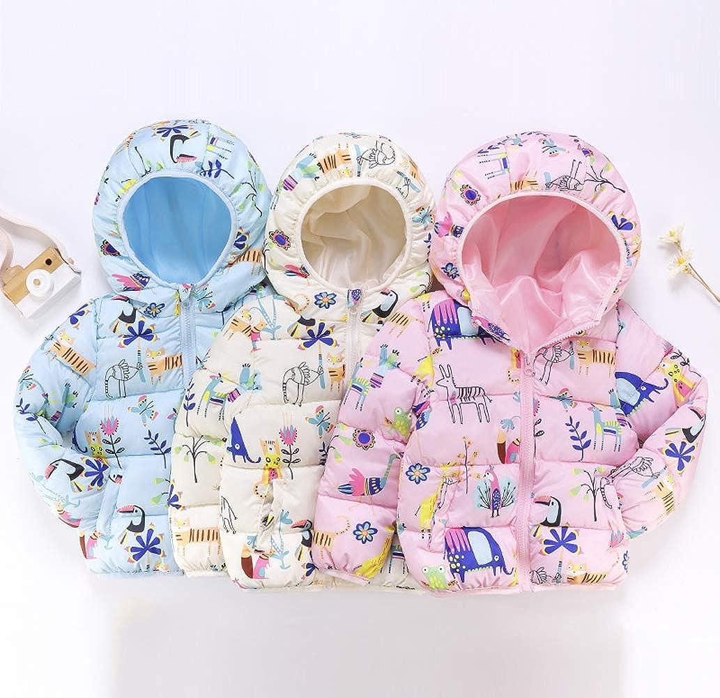 AIEOE Baby Boys Girls Down Coat Winter Cartoon Warm Hoodied Jacket Outwear 1-5Years