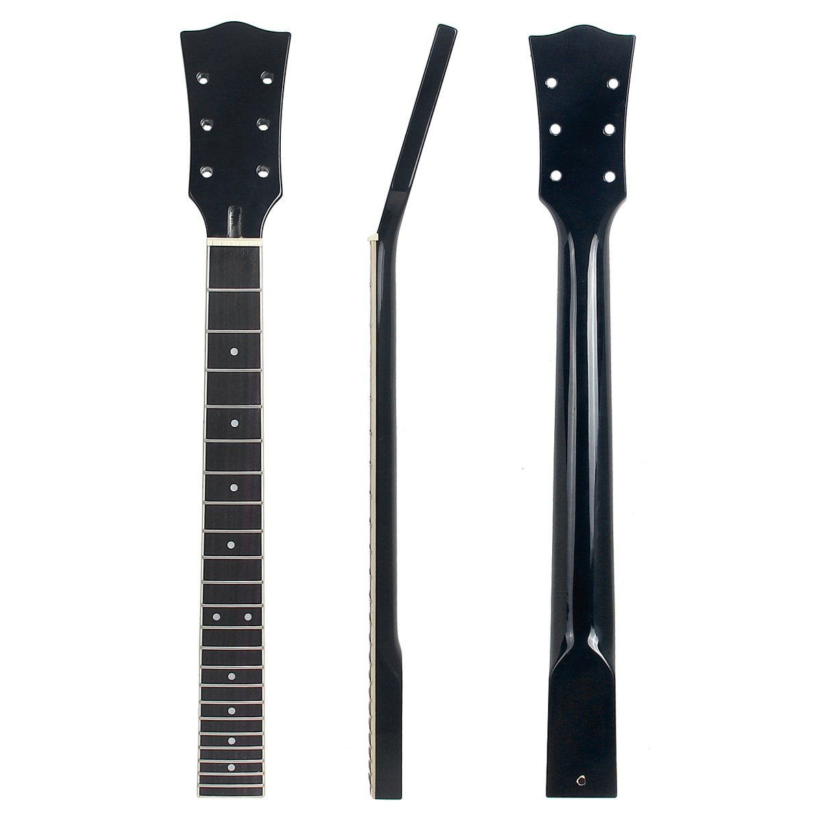 22 Frets LP Guitar Neck Mahogany Rosewood Solid Black Finish For Les Paul replacement