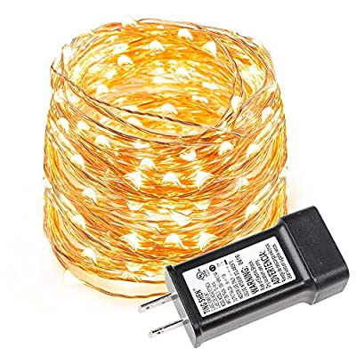 LE Copper Wire String Lights Warm White Waterproof Battery Powered Fairy Starry Lights for Garden Patio Party Valentine's Day Wedding Christmas Tree