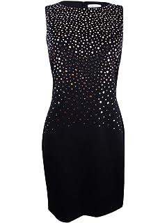 Calvin Klein Womens Mirrored Embellishment Details Scuba Sheath Dress CD7M185R