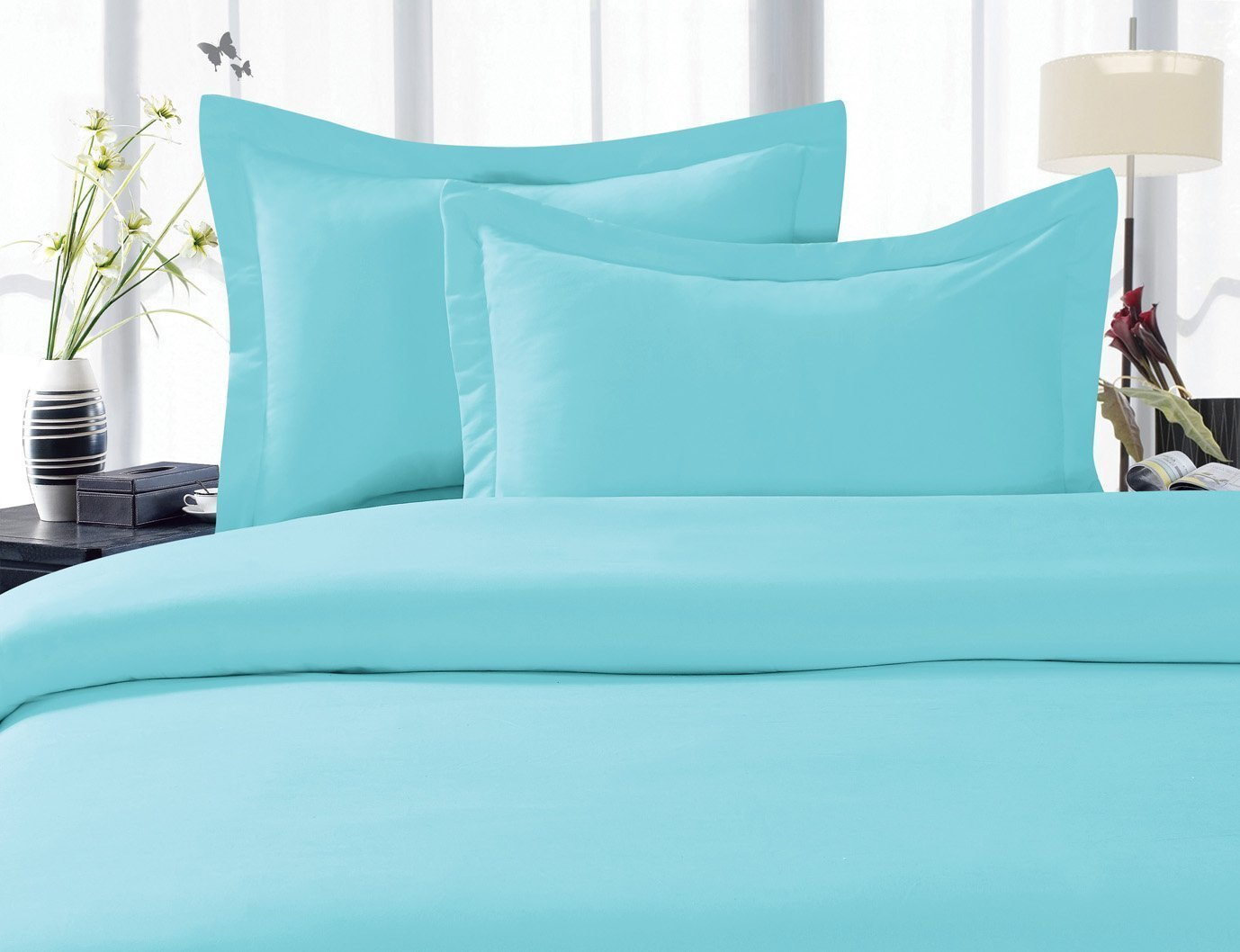3-Piece Duvet Cover Set 100 % HypoAllergenic, SOLID, Full/Queen, Light Blue/Aqua