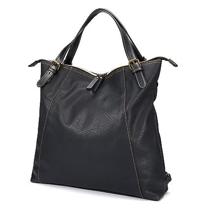 b91aceac0360 Brenice Leather Tote Handbags for Ladies Waterproof Vintage Multifunction  School Backpack Large Capacity Shoulder Bags for