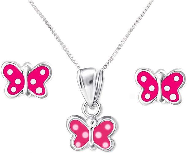 FIVE-D Set Kette Anh/änger Ohrringe eleganter Kristall Schmetterling aus 925 Sterling Silber in Geschenketui